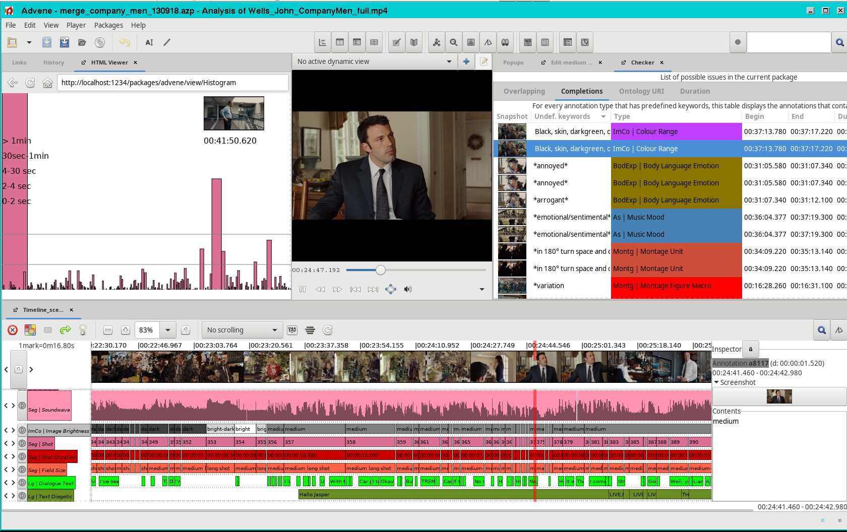 Screenshot of Advene display project data